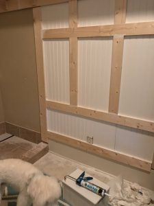 DIY trim and bead board on wall