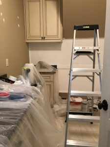 Covering cabinets before painting