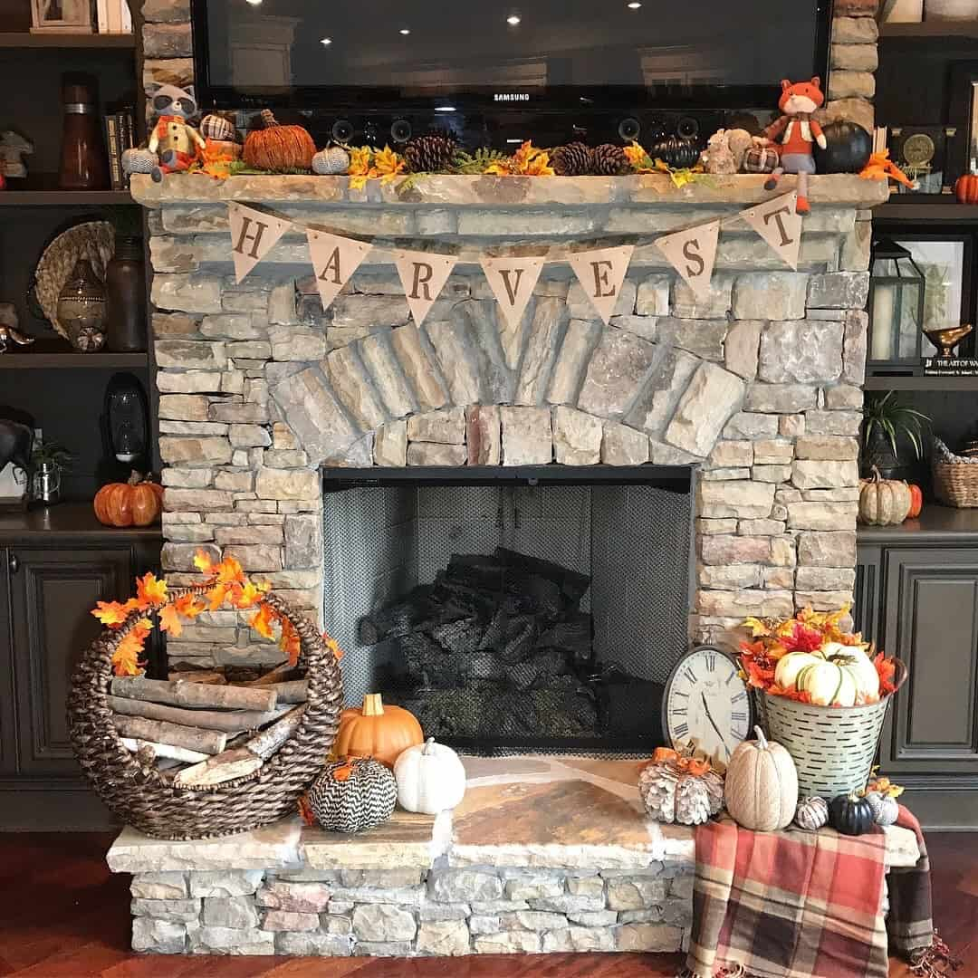Fall home decor harvest decoration autumn leaves pumpkins neutral house home