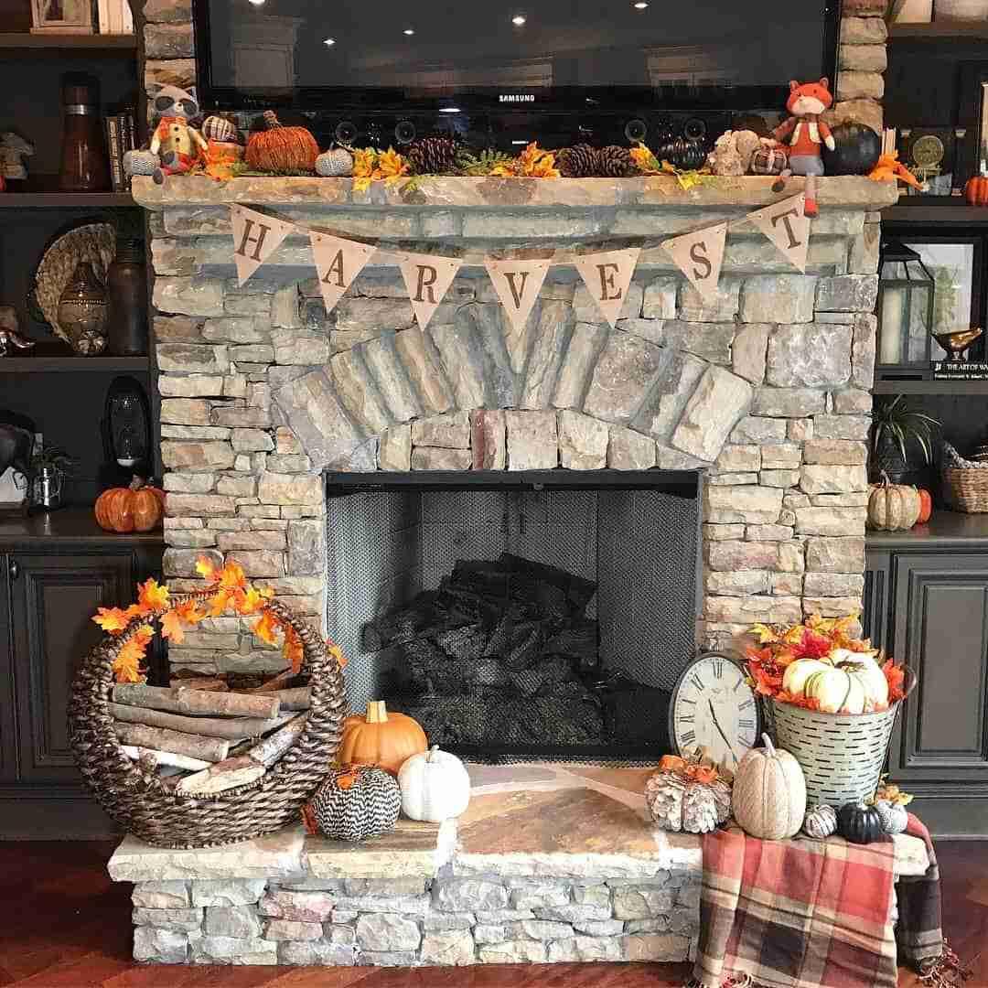 Fall home decor harvest decoration autumn leaves pumpkins neutral house home