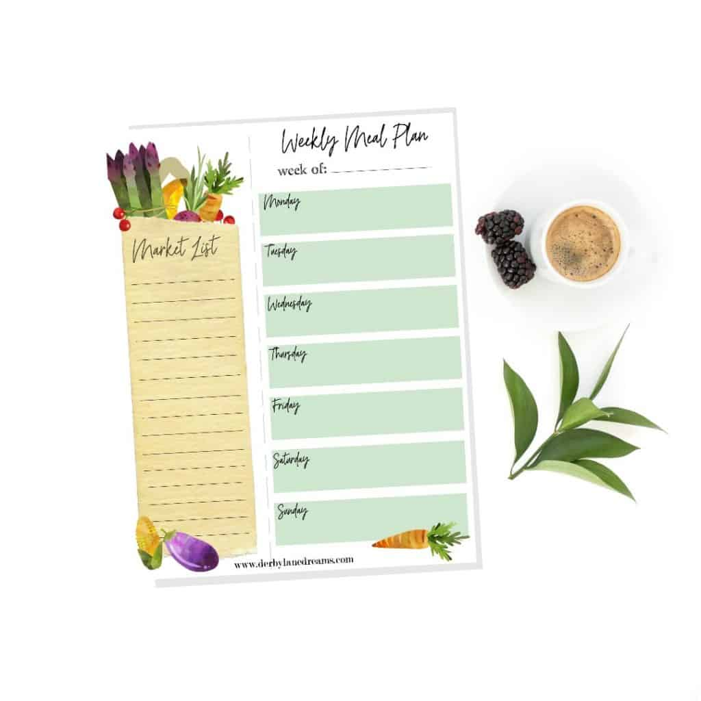 free printable market list grocery list meal plan meal planner free stuff