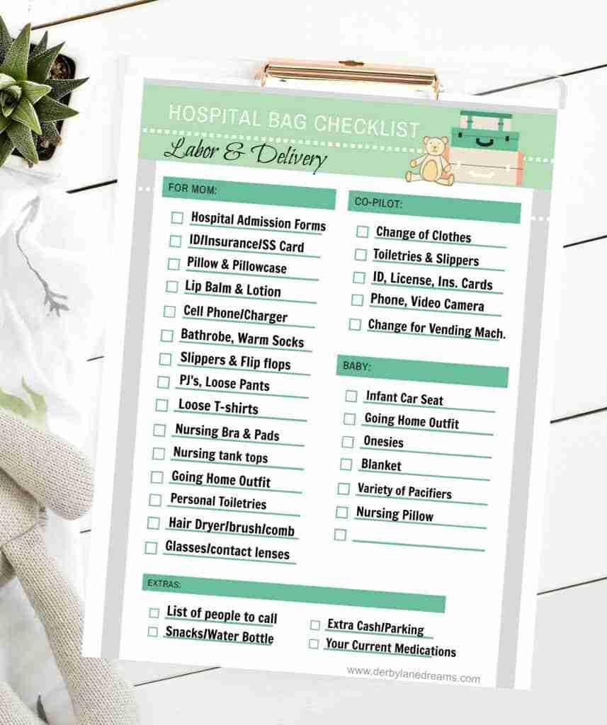 lista final de itens essenciais para o seu bolso de mão-de-obra e hospital de entrega