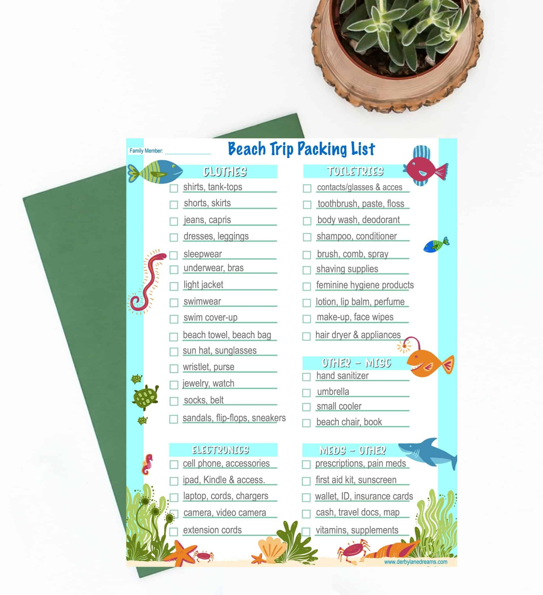Beach Trip Wardrobe And Packing List Printable