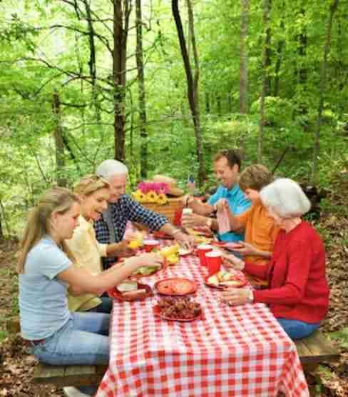 family eating outside on picnic table