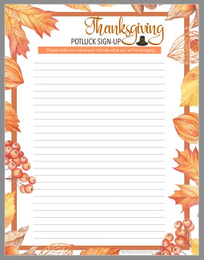 Thanksgiving Potluck Sign-up Sheet