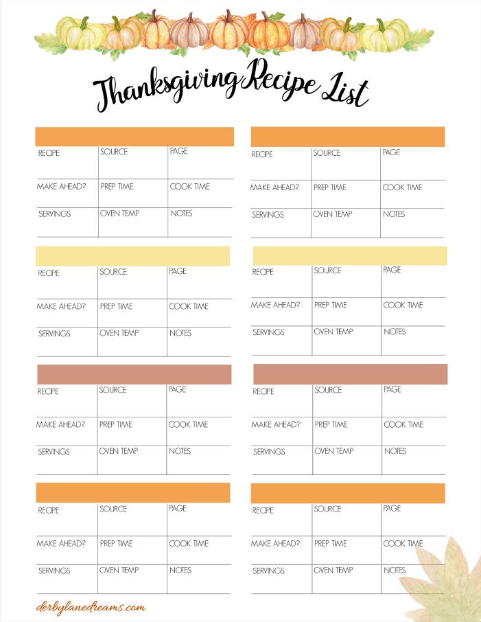 Thanksgiving Recipe List