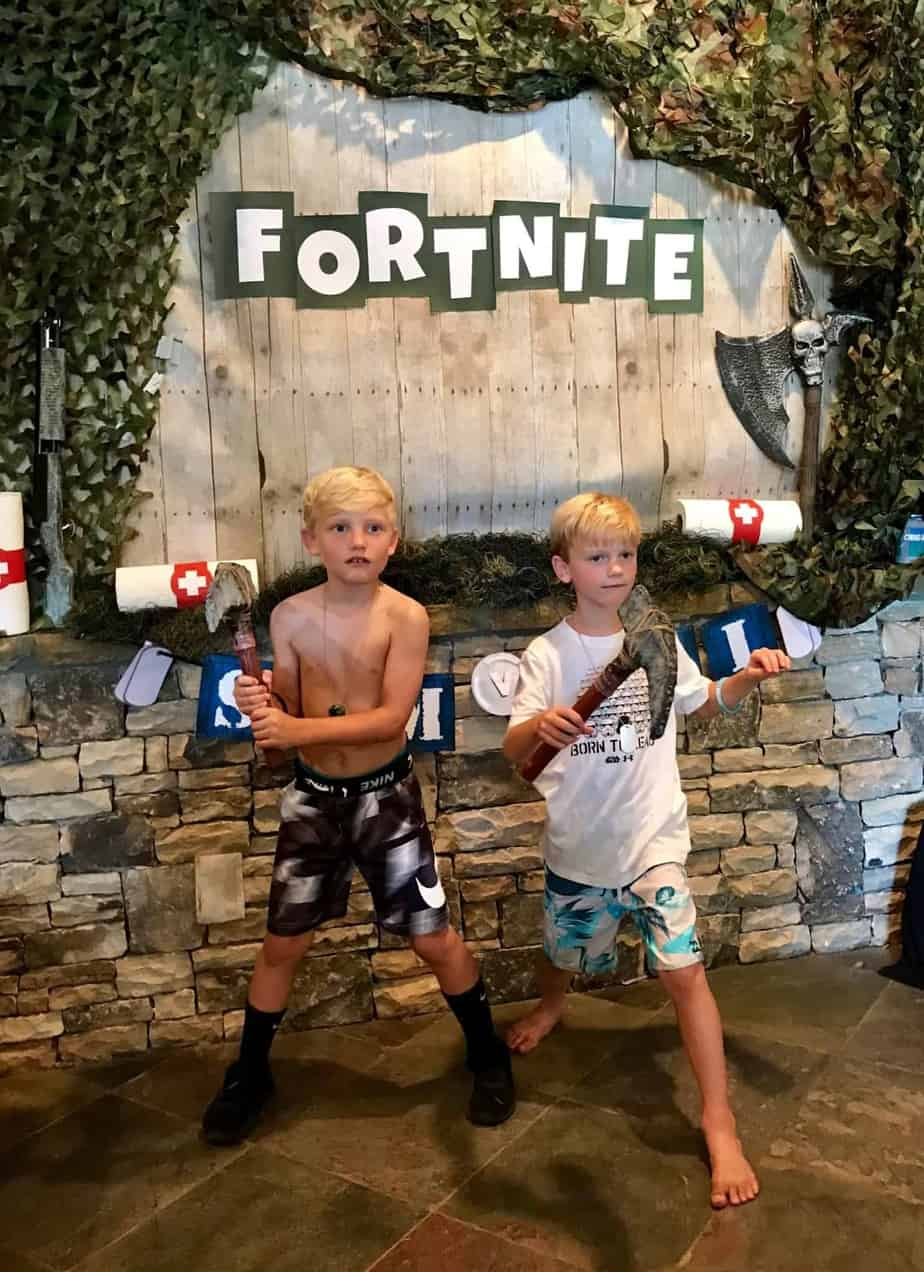 Fortnite birthday party kids playing video game