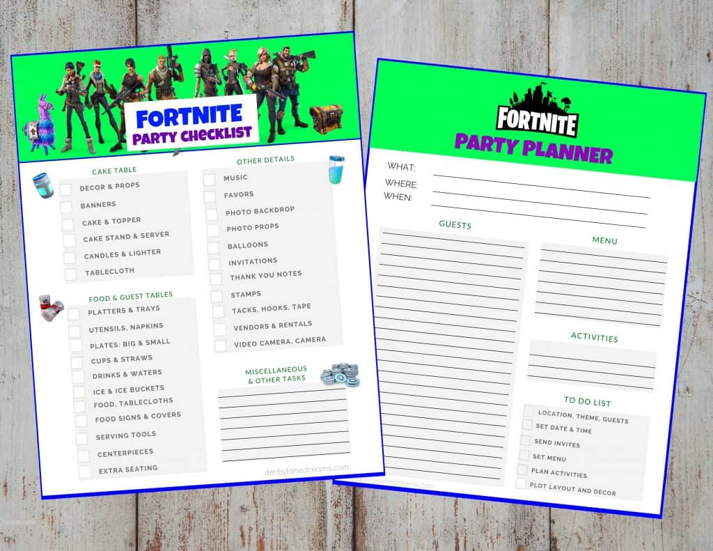 Fortnite Birthday Party Planner and Checklist