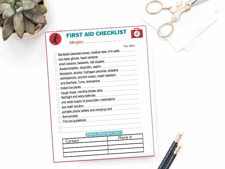 Emergency preparedness first aid kit checklist