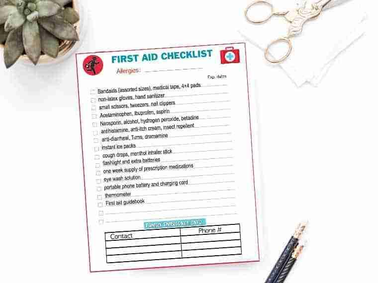 Emergency preparedness first aid kit checklist