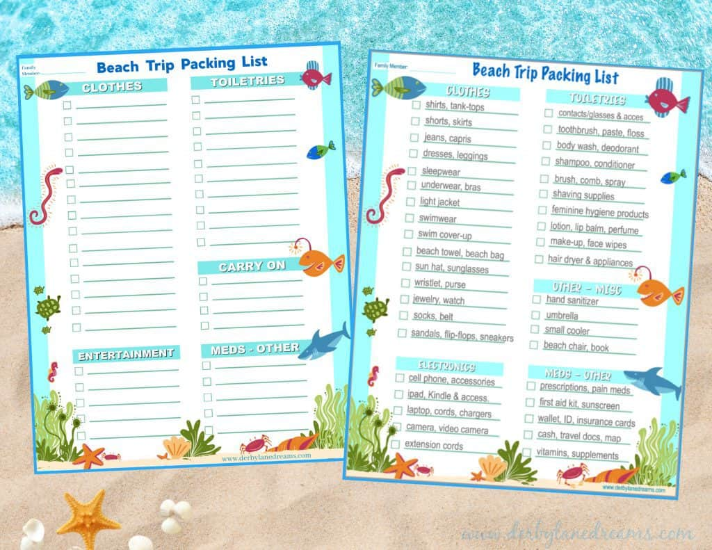 Ultimate beach trip wardrobe and vacation packing list printables.