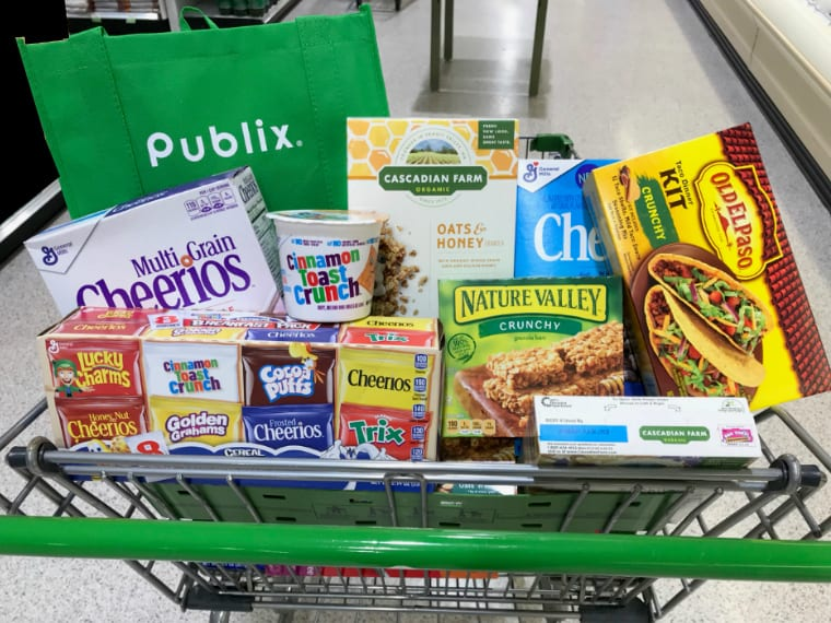 food products in grocery cart at Publix
