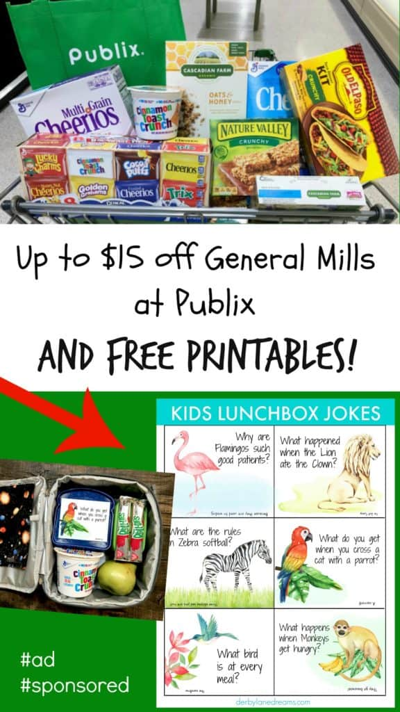 free printables and photo of grocery cart in grocery store with delicious sale items