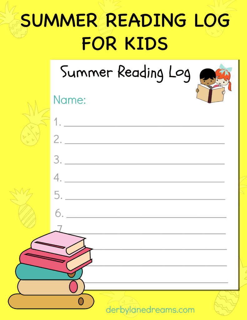 Summer reading log cover page