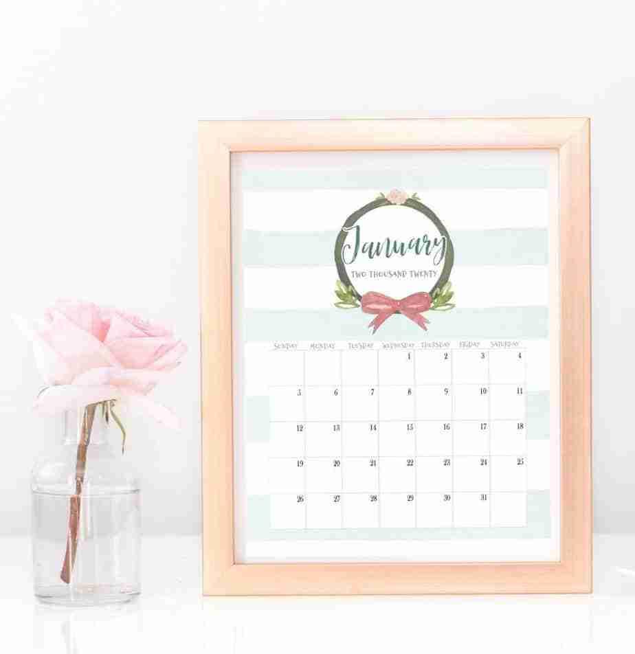 January 2020 watercolor calendar