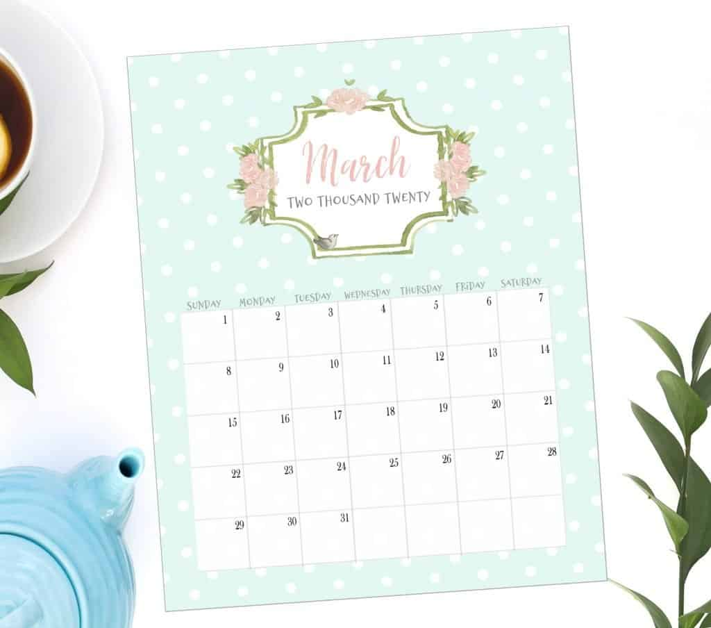 2020 watercolor 12 month calendar, French country, french style