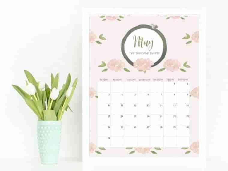 May calendar, 2020 calendar