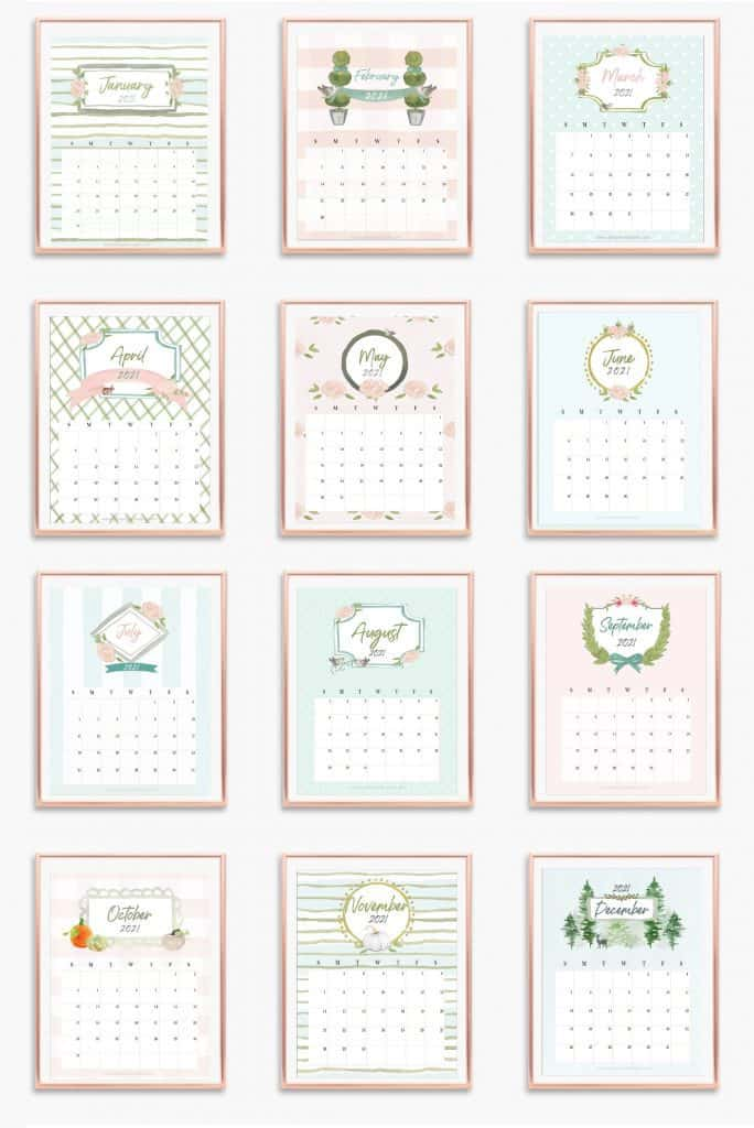 12-month calendar hanging on a wall in gold frames.