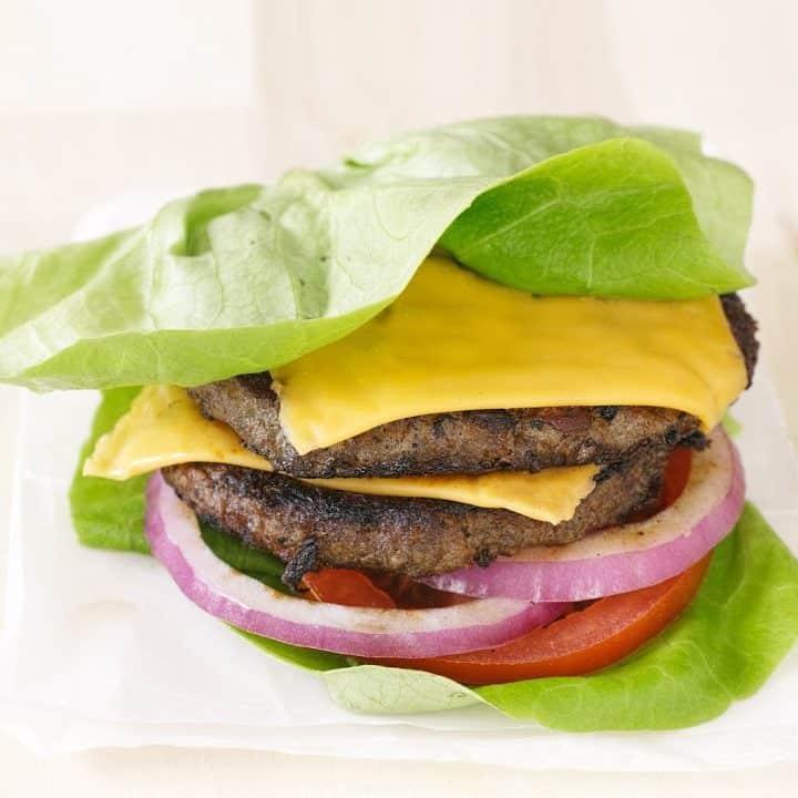 Burger with no bun, low-carb burger.