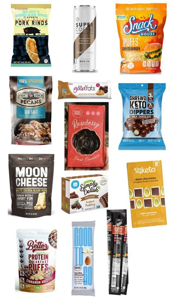 13 keto diet low carb products on a white background.