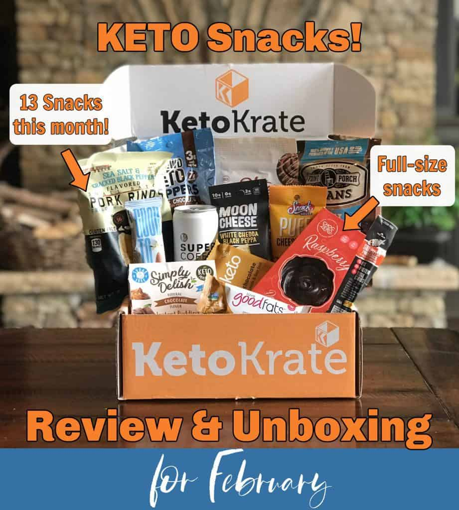 A box of 13 full sized keto snacks in a krate.