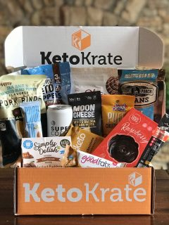 KetoKrate box of products sitting on a brown table.