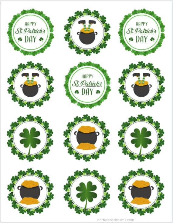 St. Patrick's Day Cupcake Toppers.