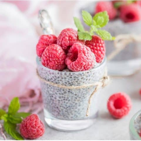 Raspberry Chia Pudding Keto Dessert in a cup.