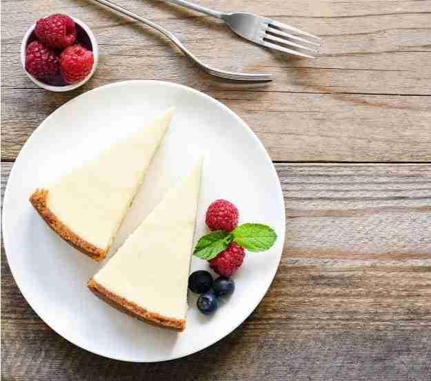 Creamy cheesecake and berries.