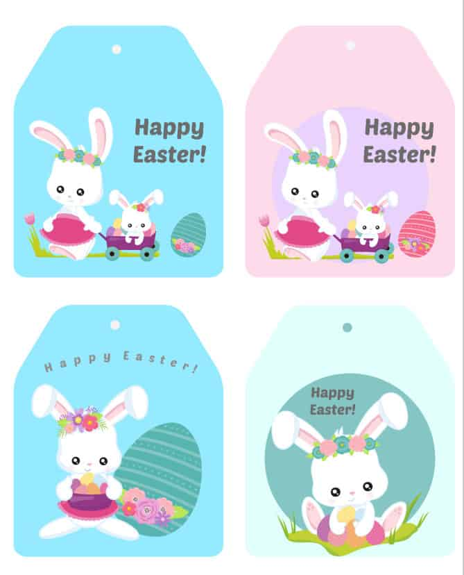 Happy Easter Basket Tags.
