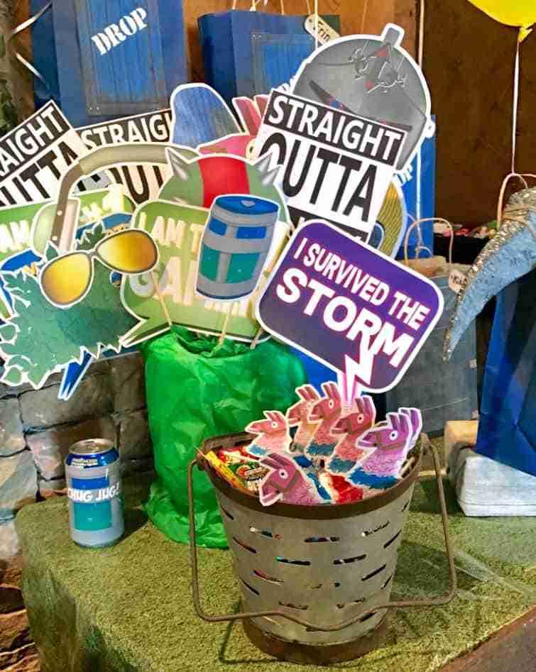 Fortnite chug jugs and photo booth props.