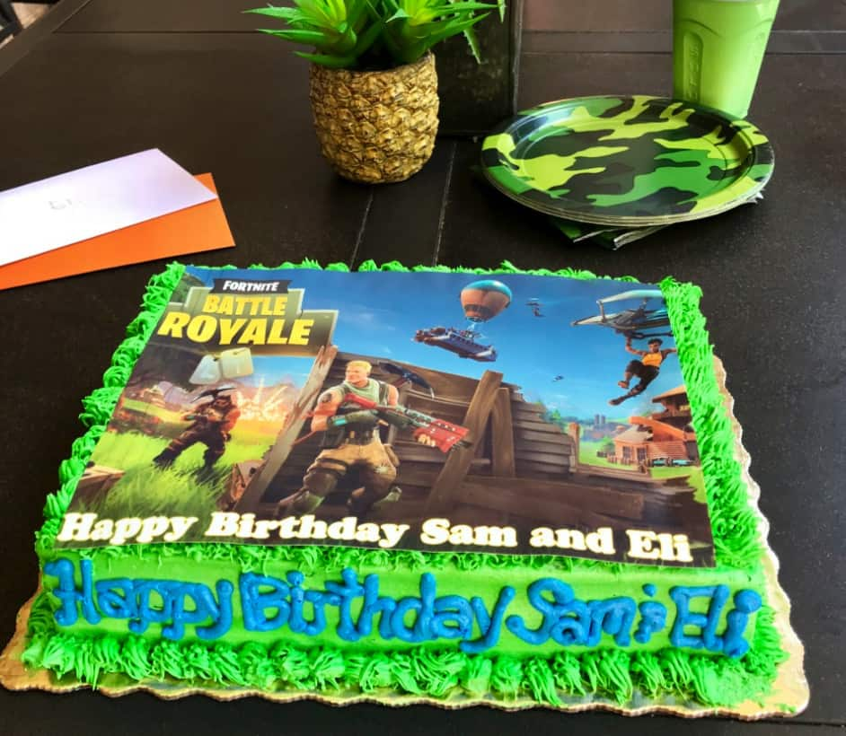 Fortnite Video Game birthday cake decorations.