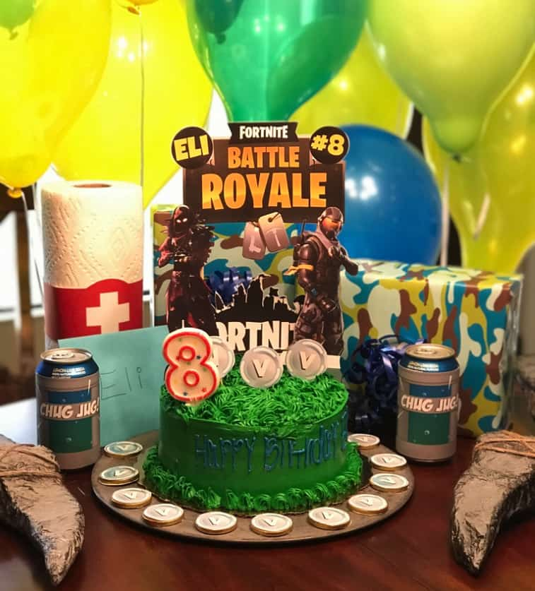 Fortnite Battle Royale Birthday Cake decorations.