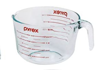 Pyrex measuring cups.